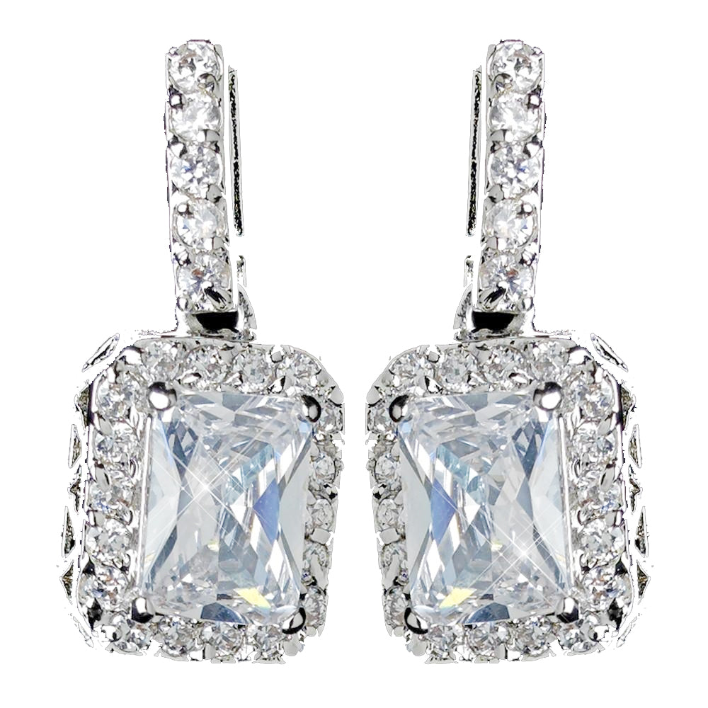 Antique Rhodium Silver Clear Princess Cut CZ Crystal Drop Bridal Wedding Earrings 7782