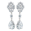 Antique Rhodium Silver Clear CZ Crystal Teardrop Earring 7783