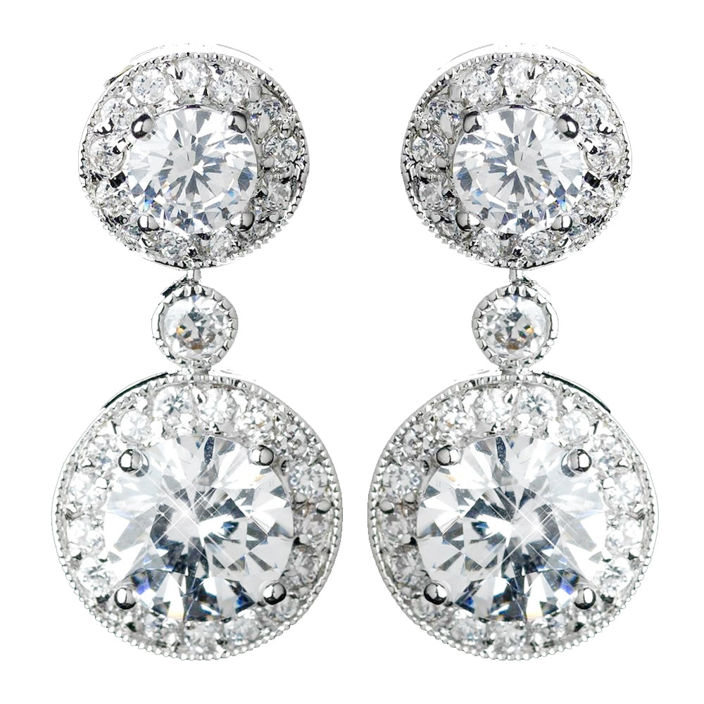 Antique Rhodium Silver Clear Solitaire Encrusted CZ Crystal Drop Bridal Wedding Earrings 7789