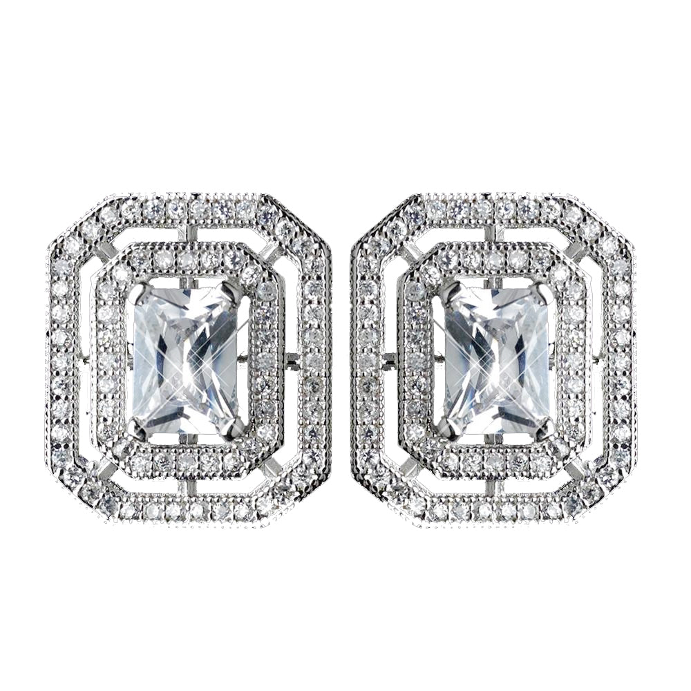Antique Rhodium Silver Clear CZ Crystal Micro Pave Radiant Cut Vintage Stud Bridal Wedding Earrings 7794