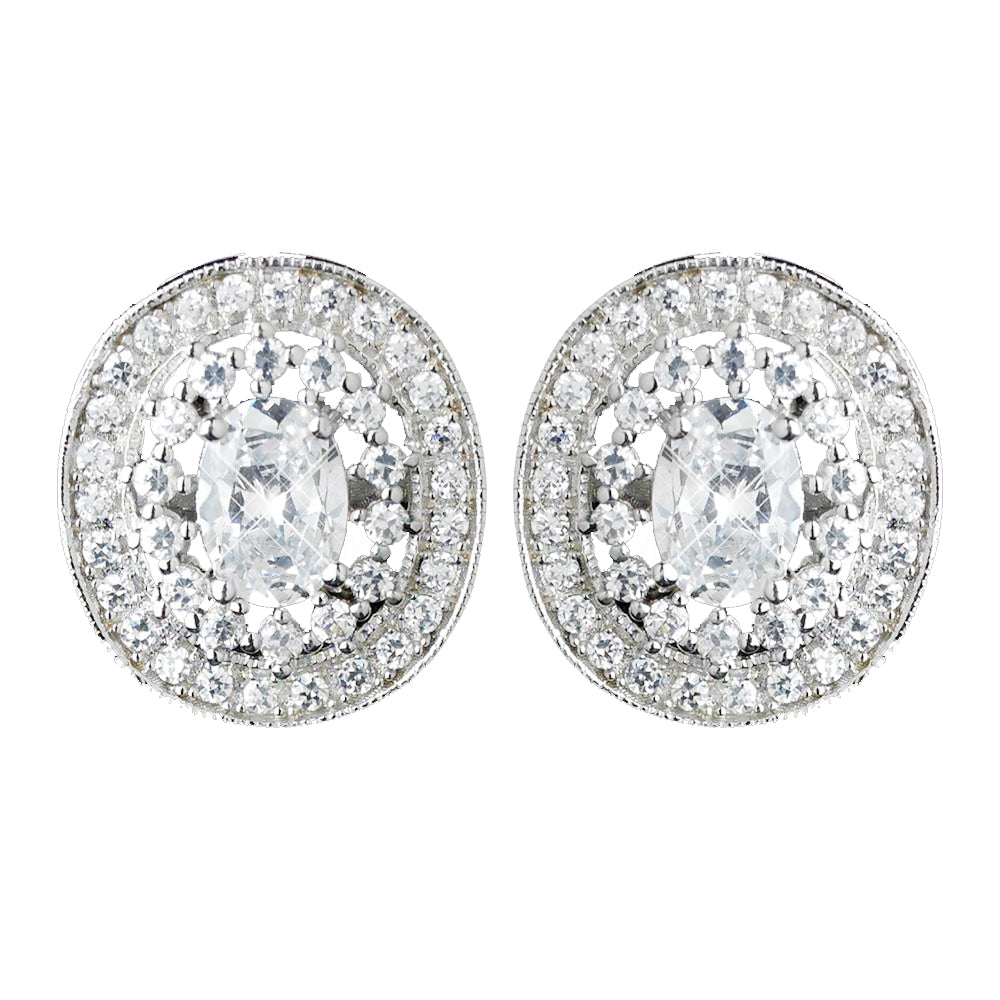 Antique Rhodium Silver Clear Pave CZ Crystal Vintage Stud Bridal Wedding Earrings 7796