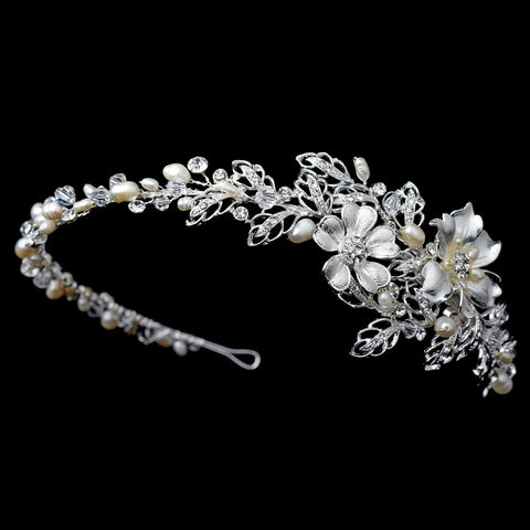 Silver Flower Bridal Wedding Side Headband with Swarovski Crystal Beads, Rhinestones & Freshwater Pearls