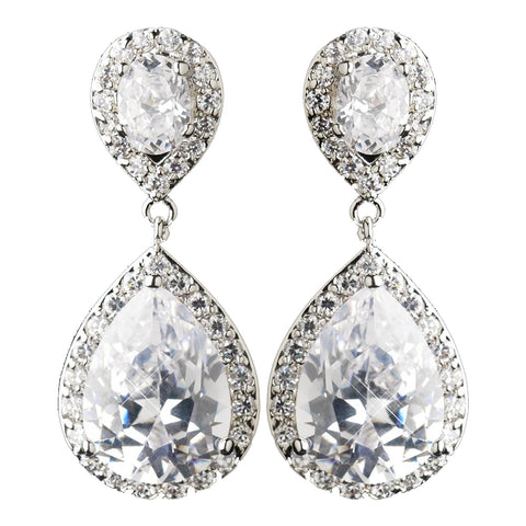Antique Silver Clear CZ Crystal Tear Drop Bridal Wedding Earrings 7850