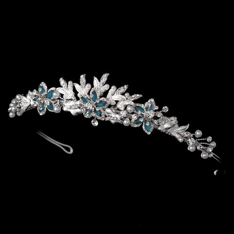 Blue Bridal Wedding Tiara Headpiece 8100
