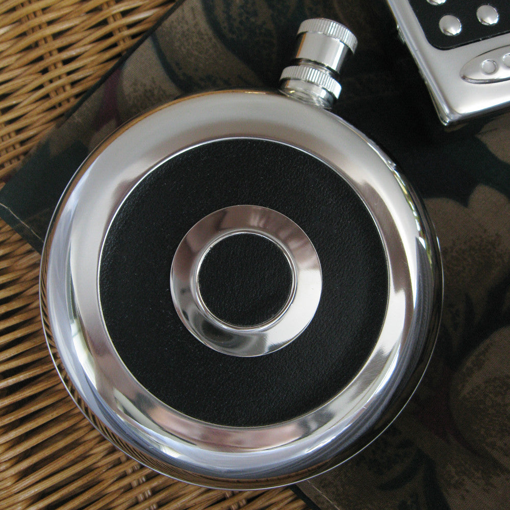 Black & Silver Round Flask Bridal Wedding Favor 813