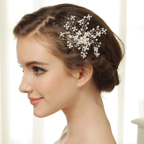 Elegant Ivory Crystal Pearl Flower Bridal Wedding Hair Comb - Bridal Wedding Hair Comb 8430