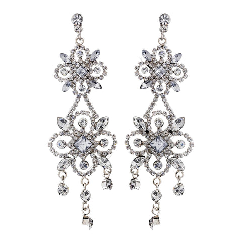 Ravishing Silver Clear Crystal Chandelier Bridal Wedding Earrings 8588