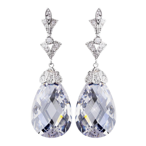 Stunning Antique Silver Clear CZ Bridal Wedding Earrings 8636