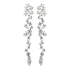 Antique Silver Clear CZ Crystal Dangle Bridal Wedding Earrings 8654