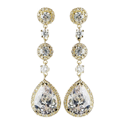 Gold Clear CZ Dangle Tear Drop & Round Crystal Dangle Bridal Wedding Earrings 8676