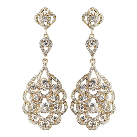 Light Gold Clear Rhinestone Chandelier Bridal Wedding Earrings 8685