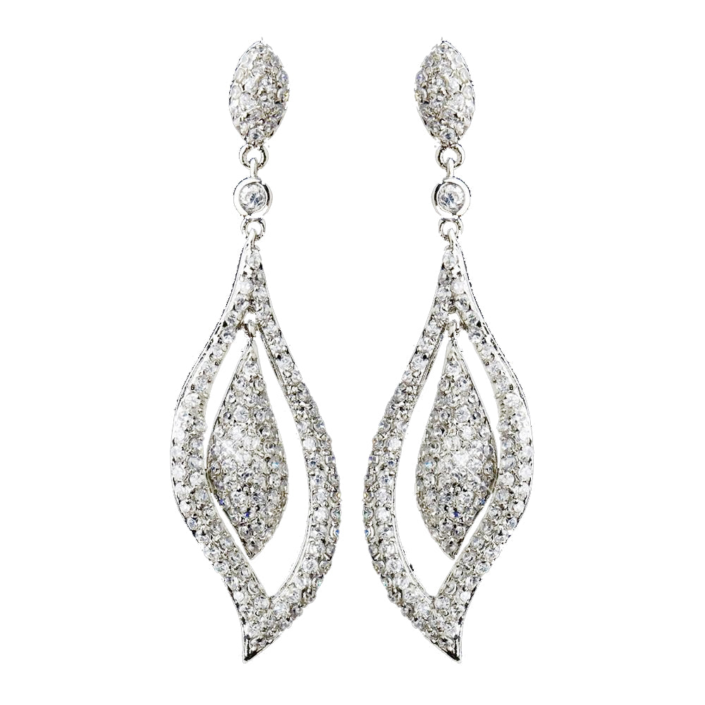 Antique Silver Clear CZ Crystal Bridal Wedding Dangle Bridal Wedding Earrings 8754