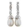 Antique Rhodium Silver Freshwater Pearl Bridal Wedding Earrings 8900