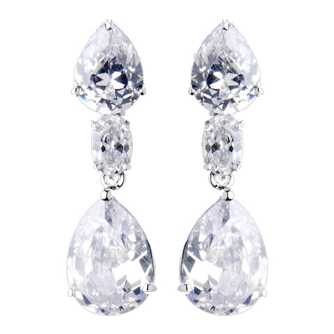 Silver Clear CZ Crystal Teardrop Bridal Wedding Earrings 8972