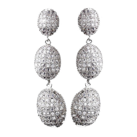 Antique Silver Clear CZ Crystal Drop Bridal Wedding Earrings 8978