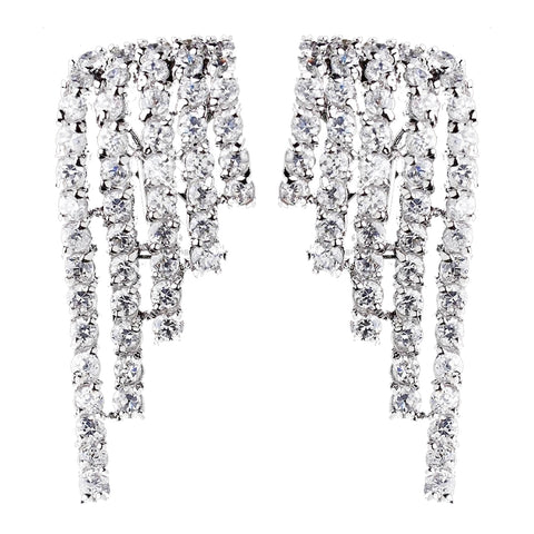 Antique Silver Clear CZ Crystal Dangle Wing Bridal Wedding Earrings 8980