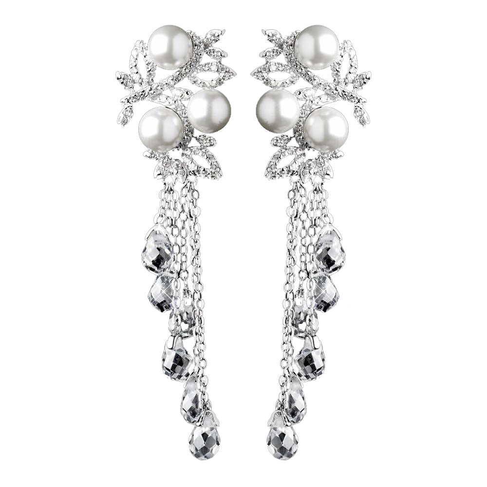 Silver White Pearl & Clear Crystal Bead Dangle Bridal Wedding Earrings 9004