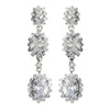 Antique Silver Clear Cubic Zirconia Triple Oval Drop Bridal Wedding Earrings 9044