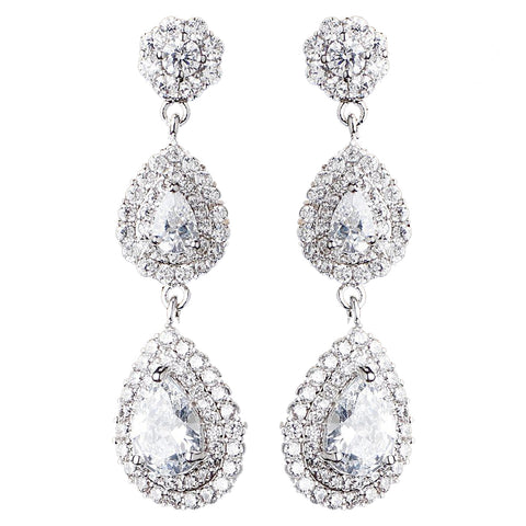 Rhodium Clear Double Teardrop CZ Dangle Bridal Wedding Earrings 9216