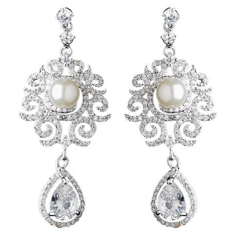 Rhodium Diamond White Pearl & Teardrop CZ Dangle Swirl Bridal Wedding Earrings 9217