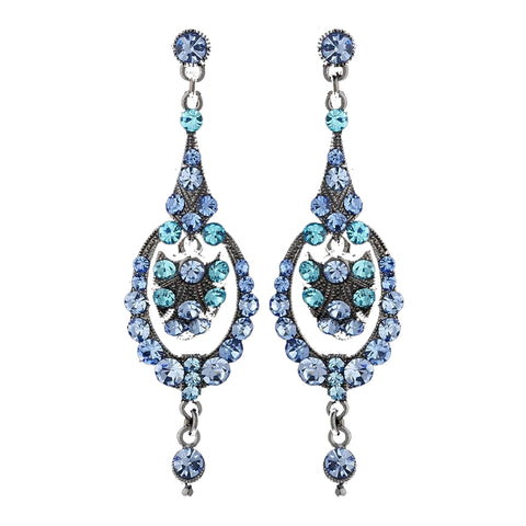 Light Blue Vintage Dangle Bridal Wedding Earrings E 947