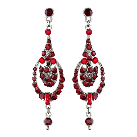 Red Vintage Dangle Bridal Wedding Earrings E 947
