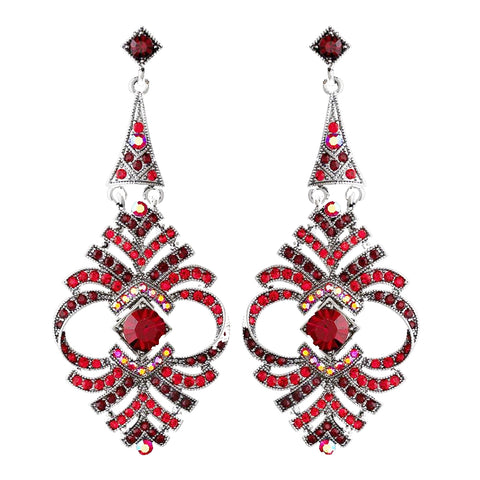 Elegant Red Vintage Crystal Bridal Wedding Earrings E 954