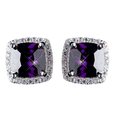 11mm Sterling Silver Princess Amethyst CZ Crystal Stud Bridal Wedding Earrings