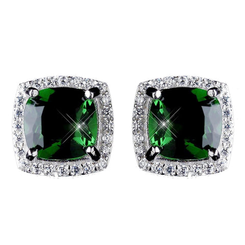 11mm Sterling Silver Princess Emerald CZ Crystal Stud Bridal Wedding Earrings