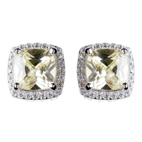 11mm Sterling Silver Princess Light Yellow Topaz CZ Crystal Stud Bridal Wedding Earrings