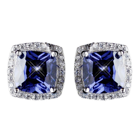 11mm Sterling Silver Princess Tanzanite CZ Crystal Stud Bridal Wedding Earrings