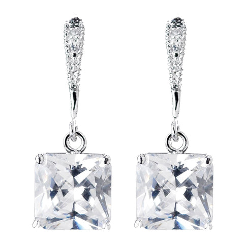 8mm Sterling Silver Princess Clear CZ Crystal Drop Bridal Wedding Earrings