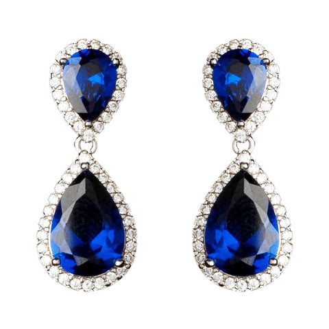Rhodium Sapphire Teardrop CZ Bridal Wedding Earrings 9729