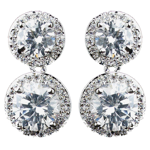 Rhodium Clear Double Pave Round CZ Drop Bridal Wedding Earrings 9730