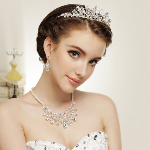 Gorgeous Silver Clear Crystal & Ivory Freshwater Pearl Jewelry & Bridal Wedding Tiara Set 9783