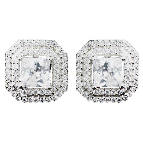 Rhodium Clear Princess CZ Stud Bridal Wedding Earrings 9805