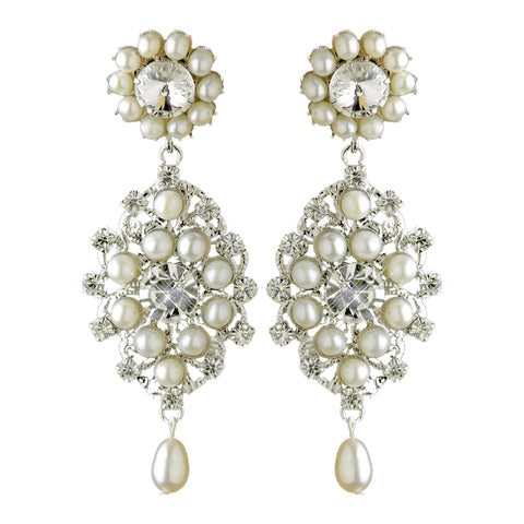 Antique Rhodium Silver Clear Rhinestone & Freshwater Pearl Accent Drop Bridal Wedding Earrings 9862