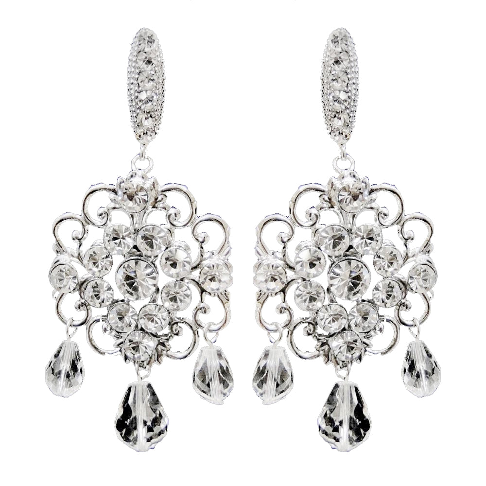 Antique Rhodium Silver Clear Swarovski Crystal Bead & Rhinestone Bridal Wedding Earrings 9863