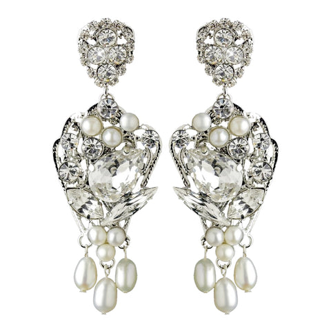 Antique Rhodium Silver Clear Rhinestone & Freshwater Pearl Accent Drop Bridal Wedding Earrings 9864