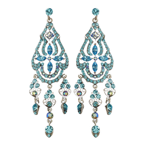 Dazzling Aqua Bridal Wedding Earrings E 988