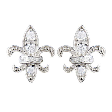 Solid 925 Sterling Silver CZ Crystal Fleur De Lis Stud Bridal Wedding Earrings 9991