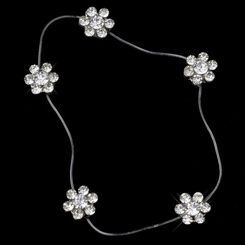 Clear Crystal Flower Bridal Wedding Anklet 1 on Illusion