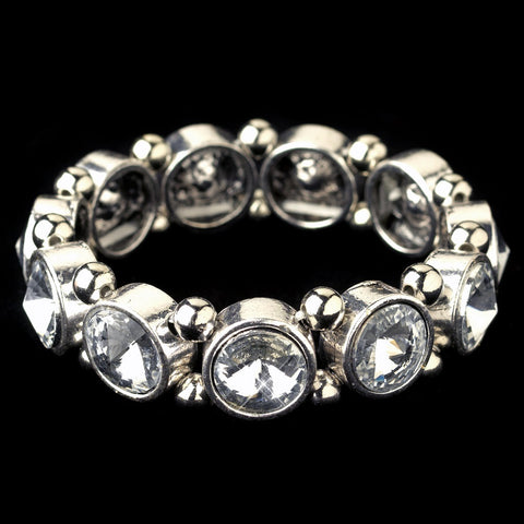 Silver Clear Gemstone Stretch Bridal Wedding Bracelet