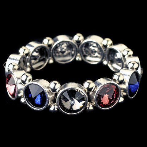Silver Multi Color Gemstone Stretch Bridal Wedding Bracelet
