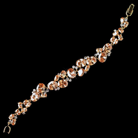 Gold Orange CZ Crystal Tennis Bridal Wedding Bracelet