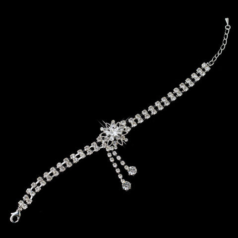 Kim Kardashian Inspired Rhinestone Flower Dangle Bridal Wedding Bracelet in Silver 1539