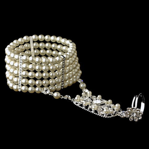Silver 5 Row Ivory Pearl Great Gatsby 1920s Inspired Stretch Bridal Wedding Bracelet with Bridal Wedding Ring 1892