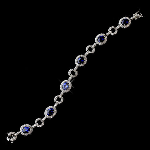 Royal Princess Kate Middleton Inspired Silver Sapphire CZ Bridal Wedding Bracelet 2722