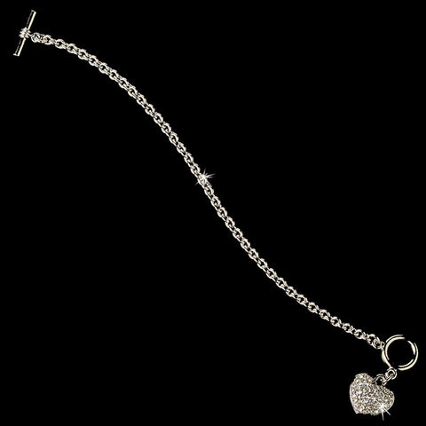 Silver Pave Heart Toggle Bridal Wedding Bracelet 3843