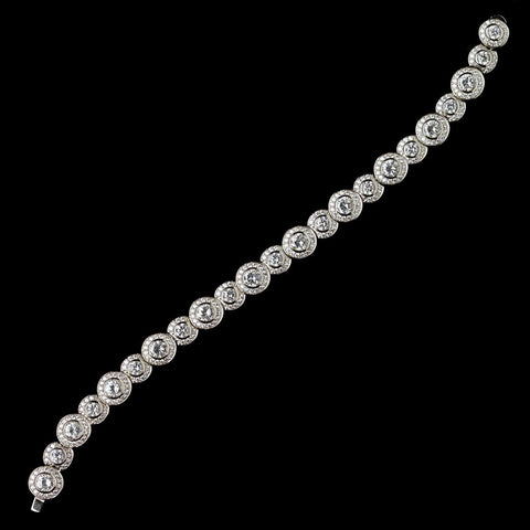 Rhodium Clear CZ Crystal Pave Circle Bridal Wedding Bracelet 4400